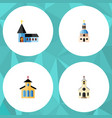 flat icon building set of christian church vector image
