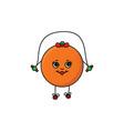 flat sketch orange jumping on skipping rope vector image