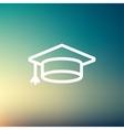 Graduation cap thin line icon vector image vector image