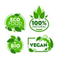 green eco vegetarian organic food sticker set vector image