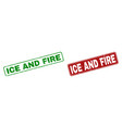 grunge ice and fire stamp seals with rounded vector image