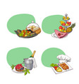 hand drawn restaurant or room service elements vector image vector image