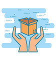 hands with box carton delivery service vector image vector image
