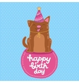Happy Birthday card background with a dog vector image