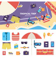 kit for tropical trip on sand vector image vector image