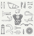 line flat plain motorcycle icon classic vector image