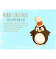 merry christmas card penguin in santa hat on ice vector image vector image