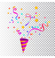 party cracker with confettiserpentine sparkles vector image