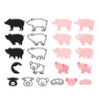 pig character set vector image vector image