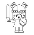 pixel character knight with sword and shield for vector image vector image