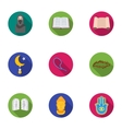 Religion set icons in flat style Big collection vector image