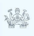 repairman master with six hands icon logo vector image