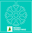 retro christmas card with snowflake outline vector image vector image