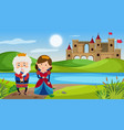 scene with king and queen in fairytale land vector image vector image