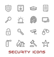 Security and protection thin line style icons vector image vector image