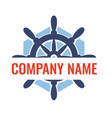 ship steering wheel badge vector image vector image