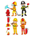 Simple sketches of the firemen vector image