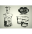 Stemware and bottle with whiskey vector image