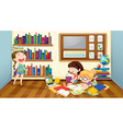 Three girls reading books in room vector image vector image
