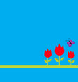 three red tulip flower set with leaf and flying vector image vector image