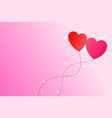 two heart balloon with copy space for valentines vector image vector image
