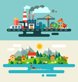 Urban and village landscape vector image vector image