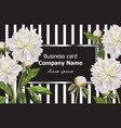 vintage business card with white peony flowers on vector image