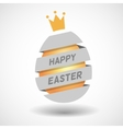White Happy Easter Egg ribbon and golden egg vector image vector image