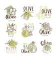organic olive product set for label design vector image