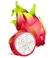 Icon of Ripe exotic dragonfruit with slice vector image