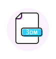 3dm file format extension color line icon vector image vector image