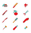 barber tools icons set vector image vector image