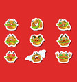 burger cute emoji stickers set vector image vector image