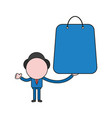 businessman character holding shopping bag color vector image