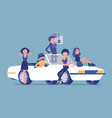 cabriolet car with people vector image