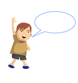 Cartoon boy jumps while speak with speech balloon vector image