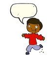cartoon excited boy with speech bubble vector image vector image