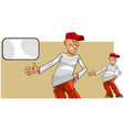 cartoon smiling teen guy and blank card vector image vector image