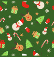 christmas seamless flat pattern with icon vector image