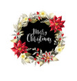 christmas wreath with slogan golden elements vector image vector image