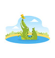 cute friendly crocodile sitting in pond vector image vector image