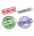 damaged textured for men only seal stamps vector image vector image