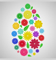 easter egg of paper flowers vector image vector image