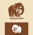 elephant coffee character vector image