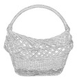 empty wicker basket black silhouette vector image vector image
