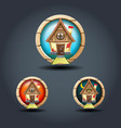 fairytale house tree wooden rounded badge icons vector image vector image