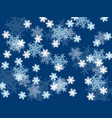 falling snowflakes small and large on a blue vector image vector image