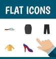 flat icon clothes set of heeled shoe banyan vector image