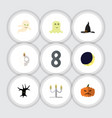flat icon halloween set of candlestick crescent vector image vector image