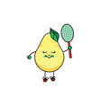 flat sketch pear playing badminton vector image